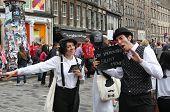EDINBURGH- AUGUST 10: Members of  i Bugiardini publicize their show Shhhhh - An Improvised Silent Movie during Edinburgh Fringe Festival on August 10, 2013 in Edinburgh, Scotland