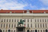 VIENNA, AUSTRIA - AUGUST 2012 : Bronze Statue of Emperor Joseph II, Holy Roman Emperor in Joseph Square in the Hofburg - Vienna, Austria on August 8, 2012. The statue was created by Franz Anton Zauner
