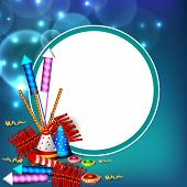 Indian festival Happy Dussehra background with firecrackers and space for your text.