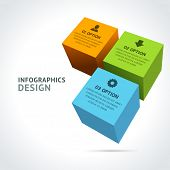 Infographics options design elements. Vector illustration. 3d cubes banner numbers and icons website