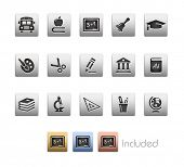 Education Icons // Metallic Series - It includes 4 color versions for each icon in different layers.