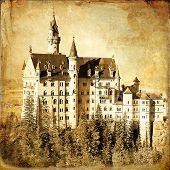 Neuschwanstein castle - old book cover style