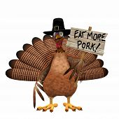 Pilgrim Turkey With Eat More Pork Sign