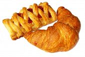 appetizing golden croissants isolated