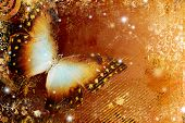 golden abstraction with butterfly
