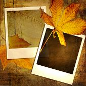 vintage autumn background with old photo frames