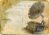 vintage post card with gramophone