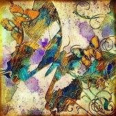 artistic grunge background with butterflies