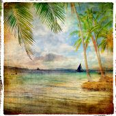 tropical sunset - retro styled picture