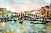 Rialto bridge - Venetian picture - artwork in painting style