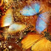 abstract background with colored butterflies