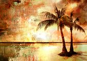 tropical sunset - obras de arte no estilo da pintura