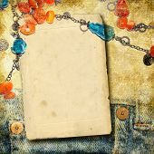 vintage photo-album with blank page and beads