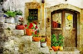 pretty village greek style - artwork in retro style