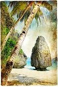 tropical nature - artwork in painting style