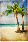 tropical beach - artwork in painting style