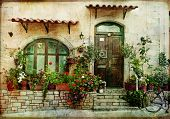 pictorial greek villages artwork in retro style