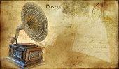 vintage postal card with gramophone