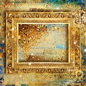 artistic decorative background with blank golden frame