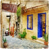 traditional Greece series - old streets with tavernas