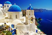 white-blue Santorini - view of caldera with churches