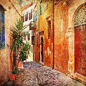 old pictorial greek streets - vintage artistic series