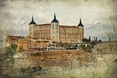 Toledo alcazar (Spain) - picture in painting style