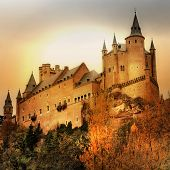 impressive Alcazar castle on sunset - Segova, Spain
