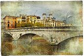 Girona, view with bridge - artistic picture in painting style