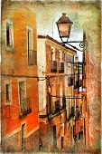 old pictorial streets of ancient town of Spain - artistic picture