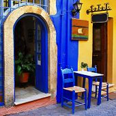 traditional greek streets with small tavernas