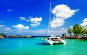 tropical scenery with yacht