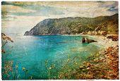 picturesue Italian coast - artwork in retro painting style