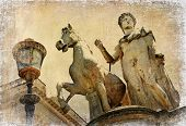 One of the two great statues of Castor and Pollux -artistic retro styled picture