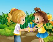 Illustration of the two friends exchanging gifts outdoor
