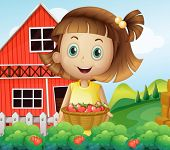 image of strawberry plant  - Illustration of a girl harvesting at the strawberry farm - JPG