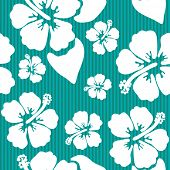 image of hibiscus flower  - Seamless pattern with hawaiian hibiscus flower - JPG