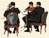 pic of double-bass  - Three musicians of classic orchestra  - JPG