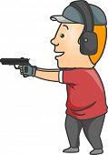 Illustration of a Man Wearing a Pair of Ear Muffs While Firing a Gun