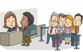 Illustration of a Queue of Passengers Lined Up in Front of the Check-in Counter