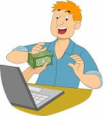 Illustration of a Hand Handing a Stack of Cash to an Online Writer