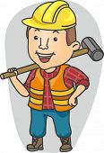 Illustration of a Man Wearing Construction Gear Holding a Sledge Hammer