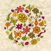 Seamless pattern of circle made of flowers and insects