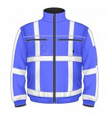 Photo-realistic vector illustration. Men's reflective safety jacket blue (front view). Illustration contains gradient mesh.