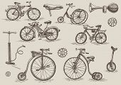 stock photo of bicycle gear  - retro bicycles vector set - JPG