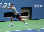 Seventeen times Grand Slam champion Roger Federer practices for US Open 2013 at Arthur  Ashe Stadium