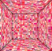 Pink Mosaic Square Tiled Empty Space