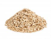 Oat Flakes Isolated On White Background. Healthy Eating