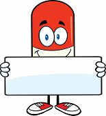 Pill Capsule Cartoon Character Holding A Banner