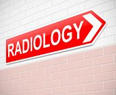 stock photo of radiation therapy  - Illustration depicting a sign directing to Radiology - JPG
